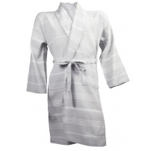 The One Towelling hamam badjas lightgrey/white